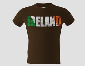 Low poly Ireland shirt dark brown colour 3D model