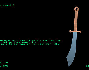 3D asset Low poly sword 5