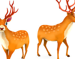 3D asset Cartoon Toon Deer Rigged and Animated model