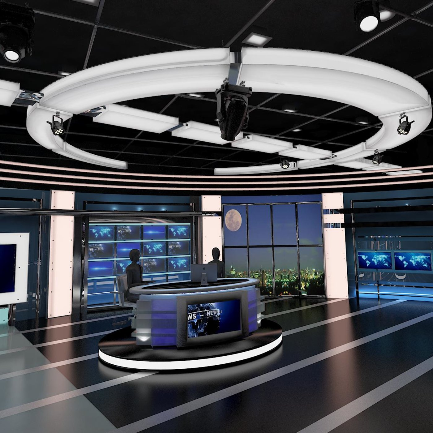 Television news studio designs