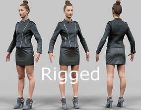 3D asset A-Pose girl in leather Rigged