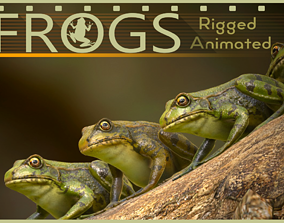 Frogs 3D model animated