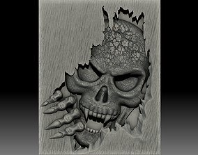 Skull monster bas-relief 3D model for CNC or 3D