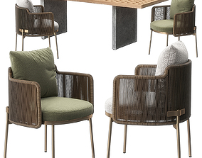 3D Tape cord outdoor chair Quadrado table by Minotti