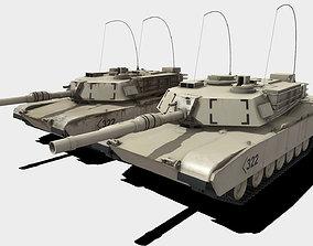 Low Poly PBR M1A2 Abrams Tank 3D asset