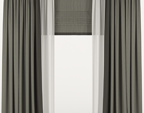 3D model Curtains with tulle and roman