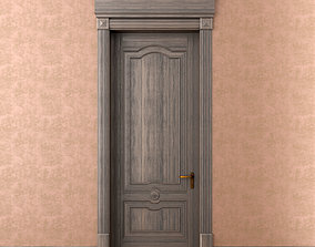 Classic single wood door model 3D