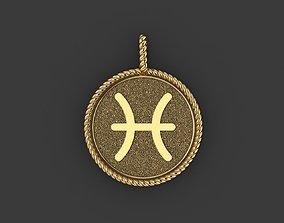 Pisces Zodiac Sign Pendant 3D print model jewelry