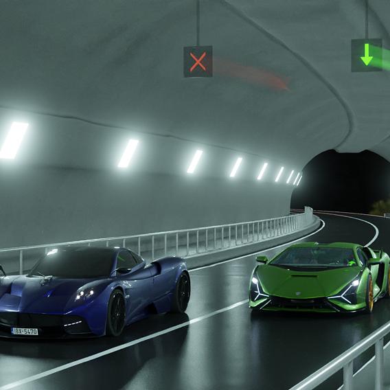 Lambo and Pagani in tunnel