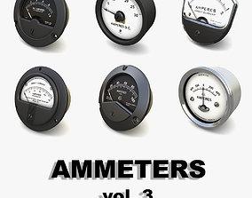 3D Vintage analog ammeters collection vol 3