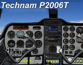 Tecnam P2006T Virtual Analog Cockpit 3D asset