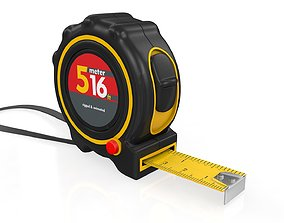 Realistic Tape Measure Animated Meter and Inch 3D model