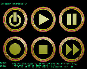 Low poly player buttons 3 3D asset game-ready
