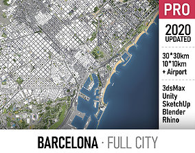 Barcelona - city and surroundings 3D model