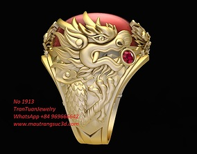 3D printable model 1913 Dragon Ring with ruby