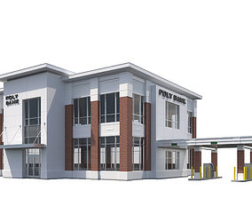 3D model Commercial Building-023 Bank With Drive-thru