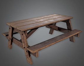 Picnic Table - PBR Game Ready 3D model