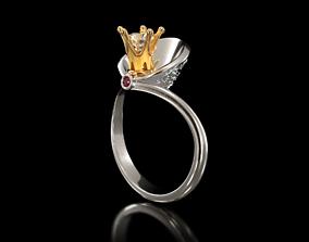 PRINCESS engagement ring RG0002 3D print model