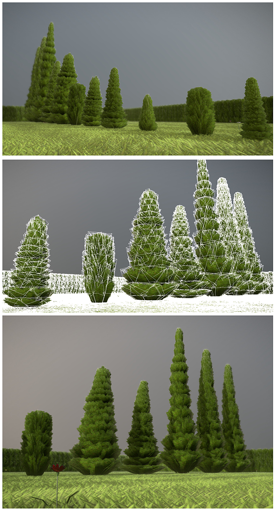 Low-Poly Cypresses