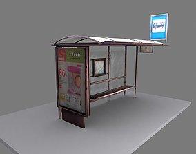 Russian bus stop 3D asset