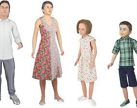 Family 4x models real cloth simulation conversation 3D 1