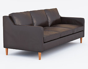 3D West Elm Hamilton Leather Sofa