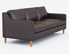 3D West Elm Hamilton Leather Sofa