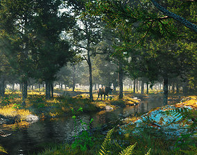 Forest early morning tropical rainforest River 3D model 1