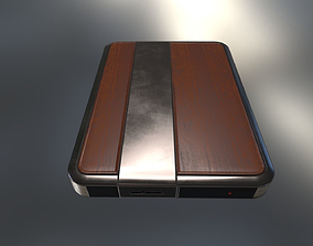 External Hard Drive Low Poly Wood Metal - 3D asset 2