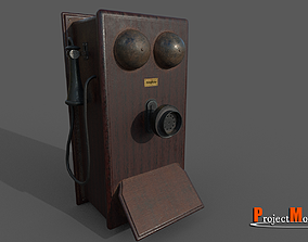 Old wooden telephone 3D asset game-ready