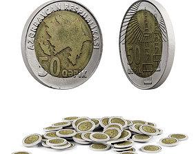 3D model Azerbaijan coin 50