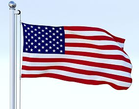 3D model Animated US Flag