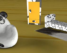Cartoon Game Ready Low Poly Panda Kids Chair 3D asset
