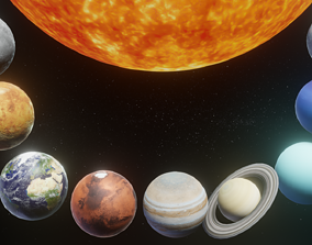 low-poly Photorealistic Solar System 3D Model