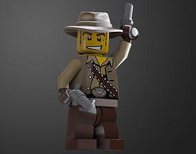 3D asset animated Cowboy Lego Game Ready