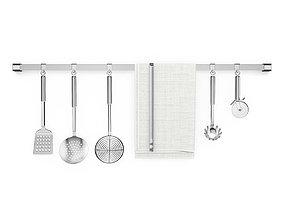 3D model Kitchen utensils on rail