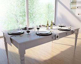 Dining table set 3D model dinning