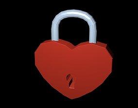 Low poly Lock heart 3D asset