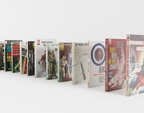 3D model Vintage Paperback Crime Noir Books