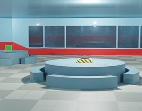 3D model game-ready Among us Cafeteria Scenario