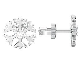 Snowflake new year Christmas diamond earrings 3D print 1