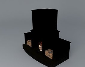 Fireplace with wood boxes 3D model