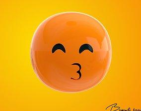 Emoji Kissing Face with Smiling Eyes 3D asset