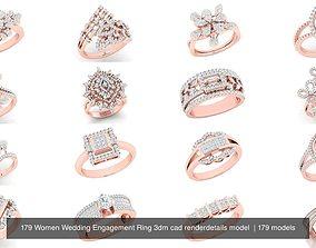 179 Women Wedding Engagement Ring 3dm cad renderdetails