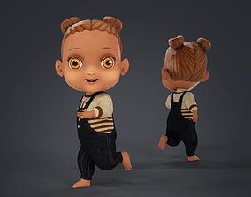 3D model Cartoon African Girl Full Rigged