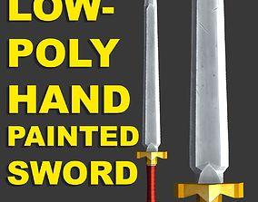 Low Poly Sword Hand Painted 3D model