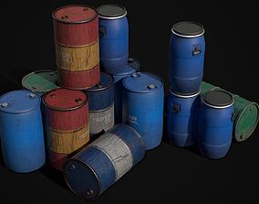 industrial Barrels 3D model low-poly