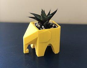 Low poly elephant planter for succulent 3D print model