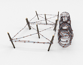 Low Poly Barb Wire Obstacle 3D model realtime