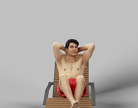 Patrick A Beach Man Lying On A Lounger In His Red 3D model